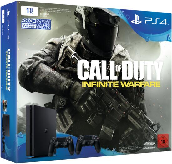PS4 Slim 1TB inkl. Call of Duty Infinite Warfare + 2. Controller (Neuware ohne Umverpackung)