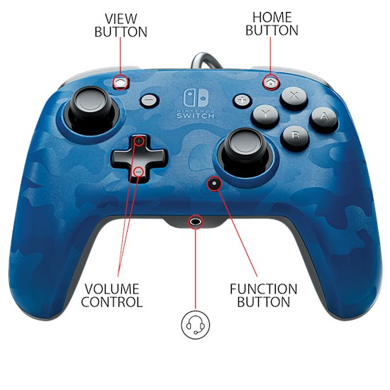 Nintendo Switch Faceoff™ Wired Pro Controller Blau Camouflage (PDP)
